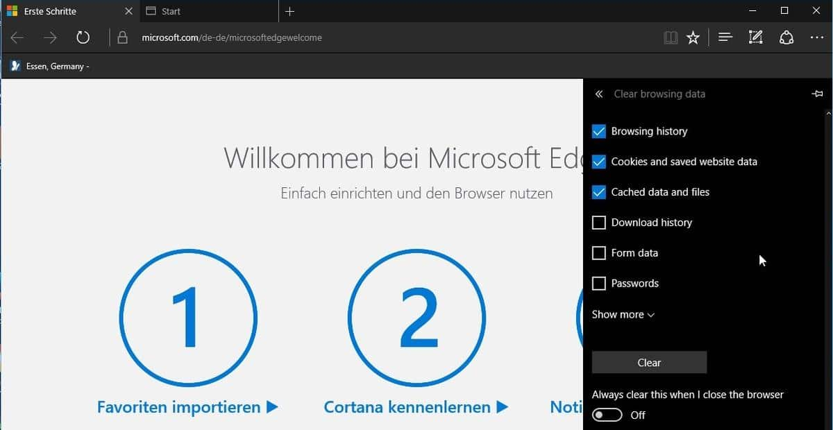 microsoft edge clear on exit