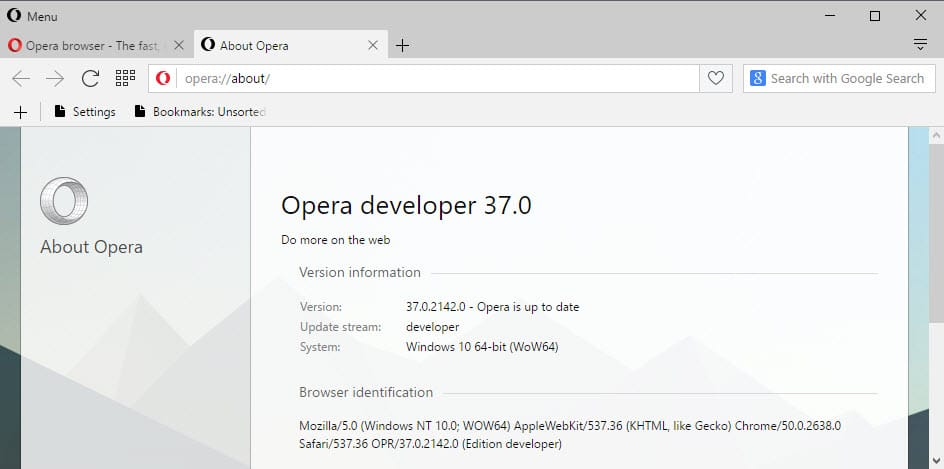 Opera 36 will be the last for Windows XP and Vista
