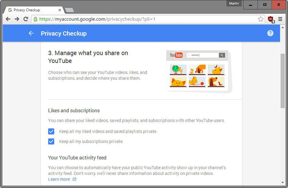 privacy checkup youtube