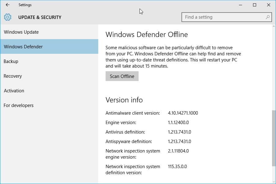 Windows Defender Offline integrated into Windows 10