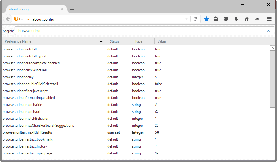 about config location bar