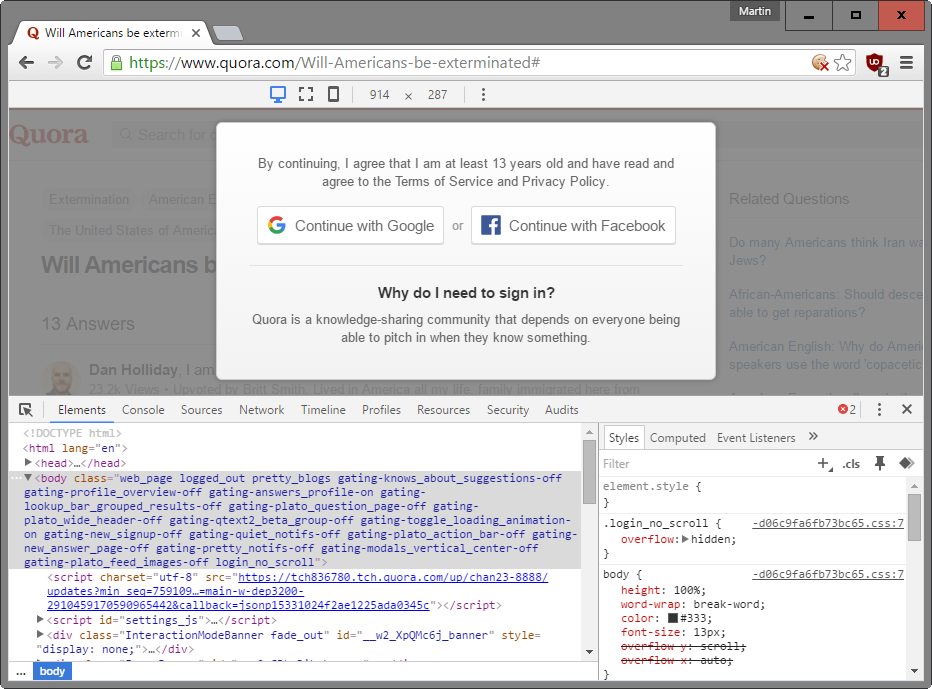 Hide elements on a page in Chrome, Firefox and Edge temporarily