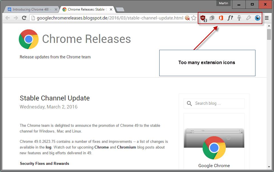 chrome hide extension icons