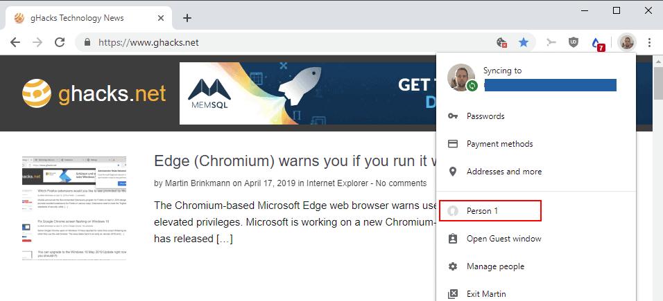 chrome switch profile