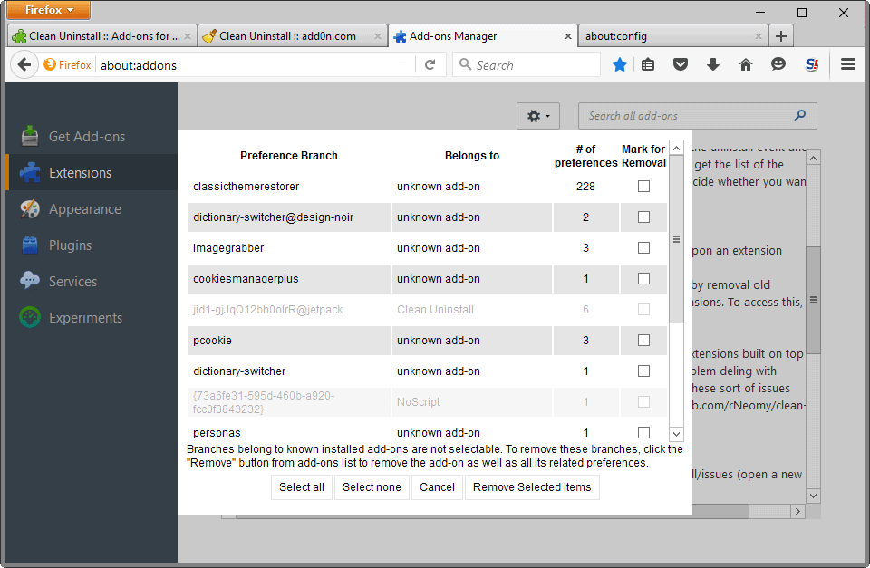 clean firefox preferences