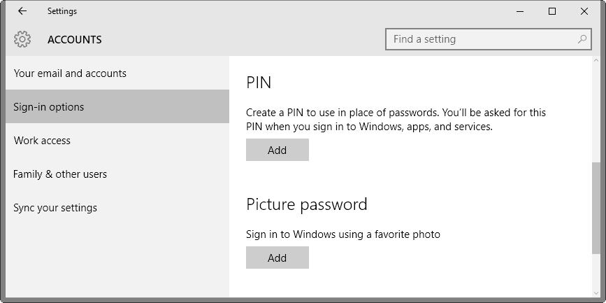 create a pin windows 10