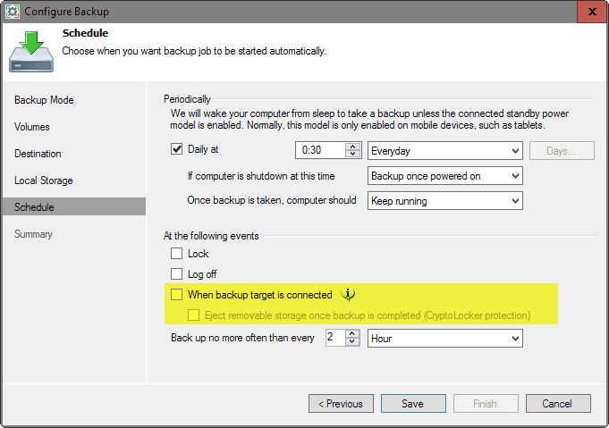 eject backup storage on completion