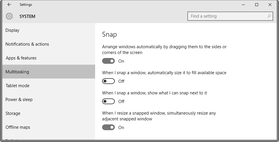Manage Snap functionality in Windows 10 - gHacks Tech News