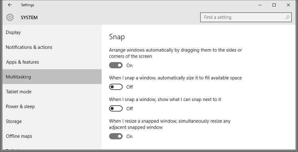 manage snap windows 10