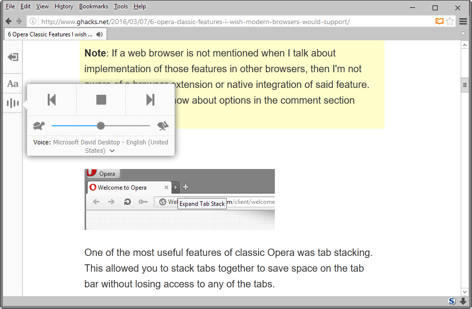 Narrate: Firefox Reader Mode gets Text to Speech
