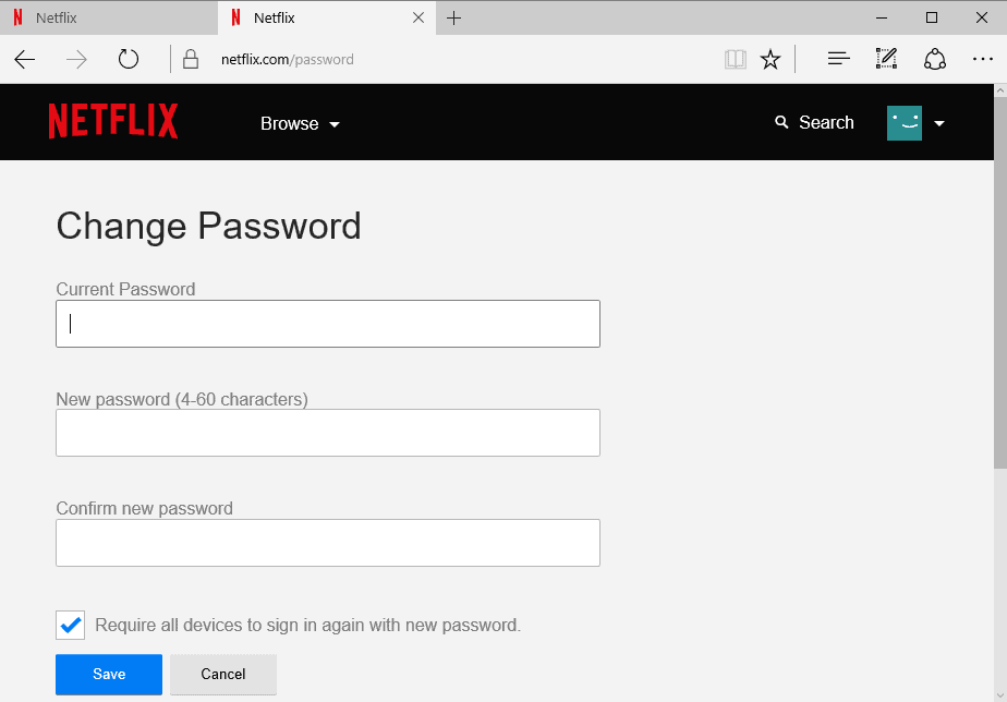 netflix change password