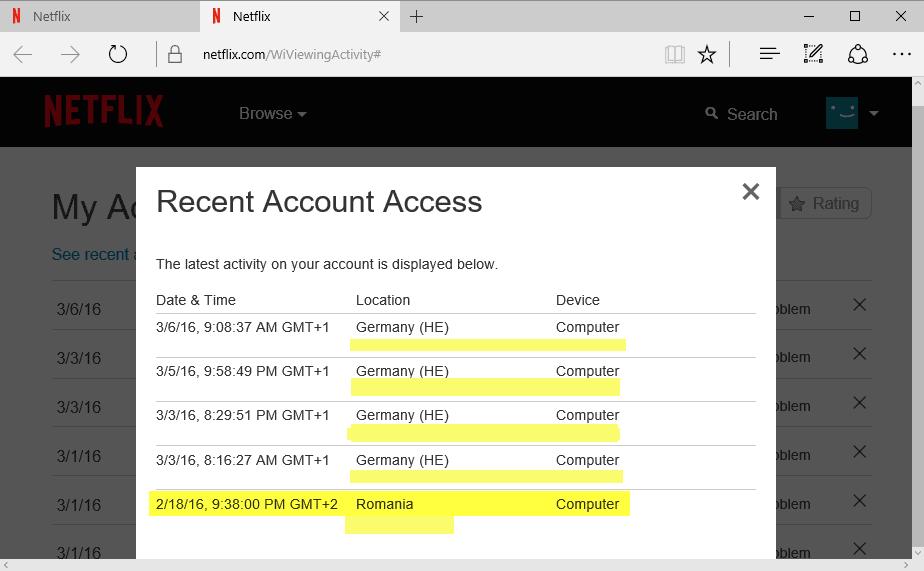 netflix recent account history
