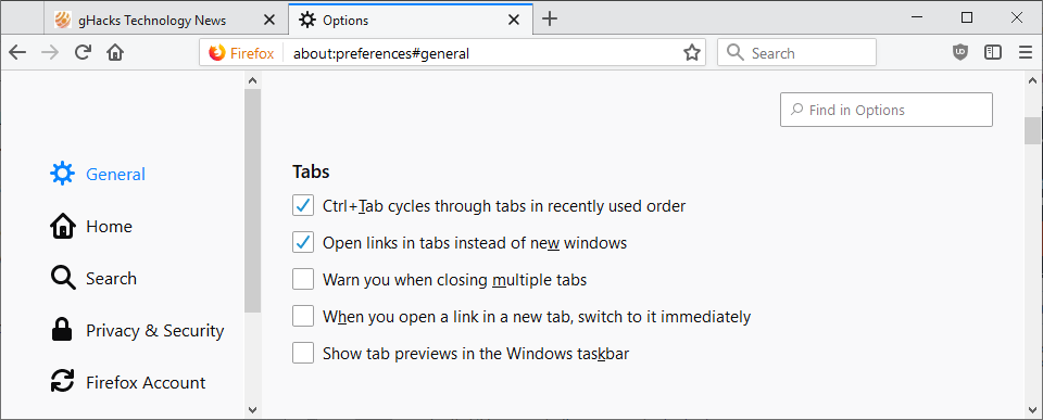 tab preferences firefox