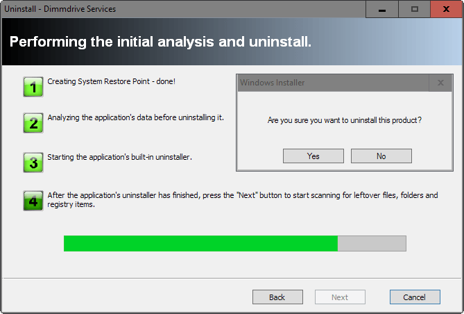 uninstallation step 4