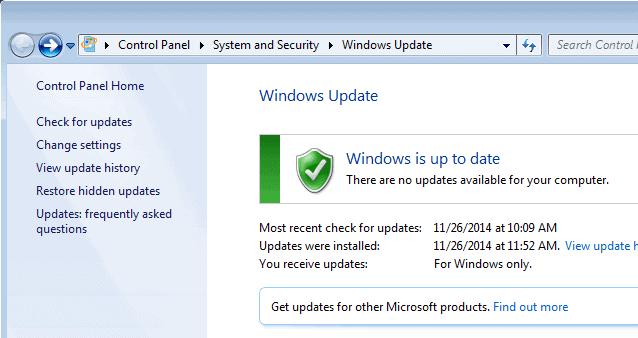 windows update change settings