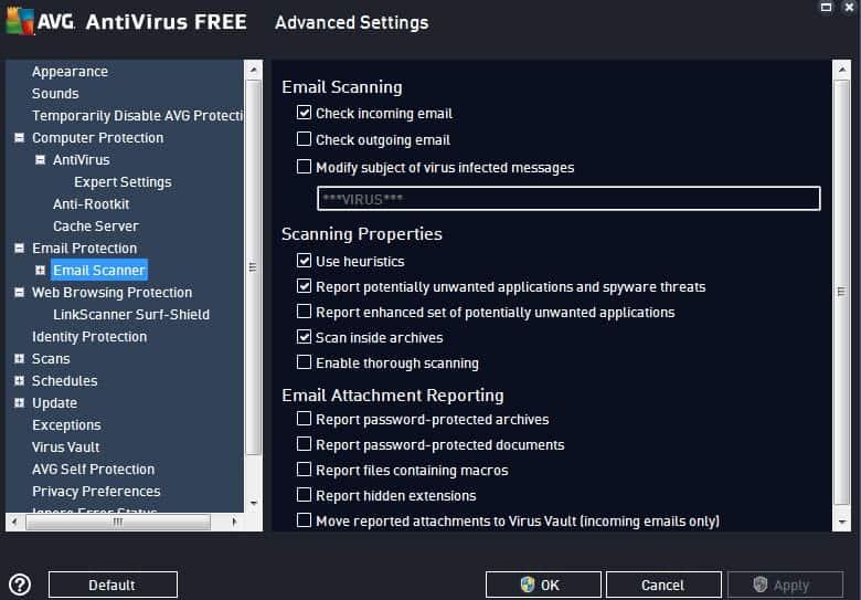 avg antivirus free settings
