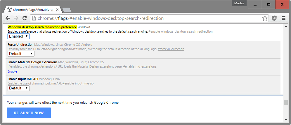 chrome desktop search redirection