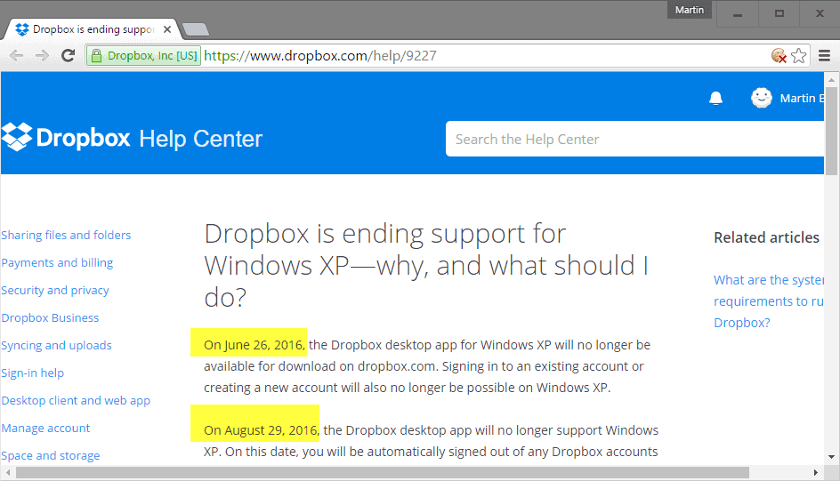 Dropbox announces end of Windows XP support