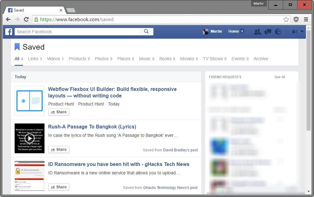 Save to Facebook first look