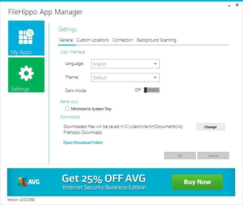 filehippo app manager settings