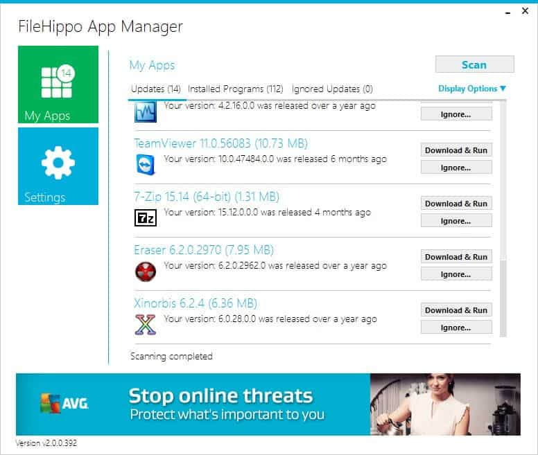 FileHippo App Manager: keep software up to date