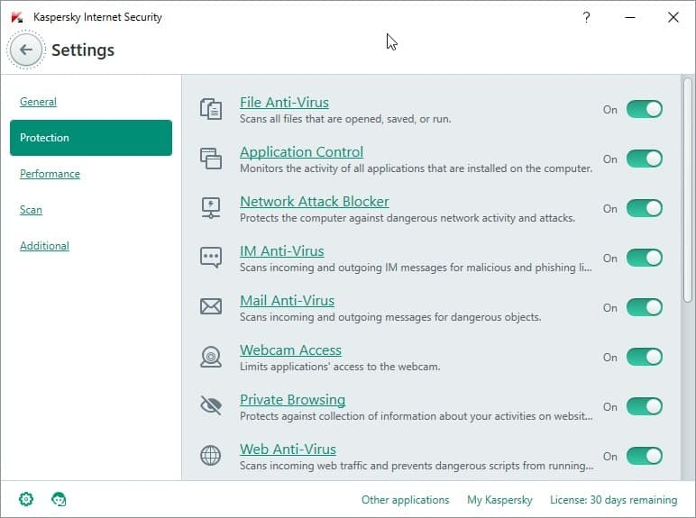 kaspersky internet security settings
