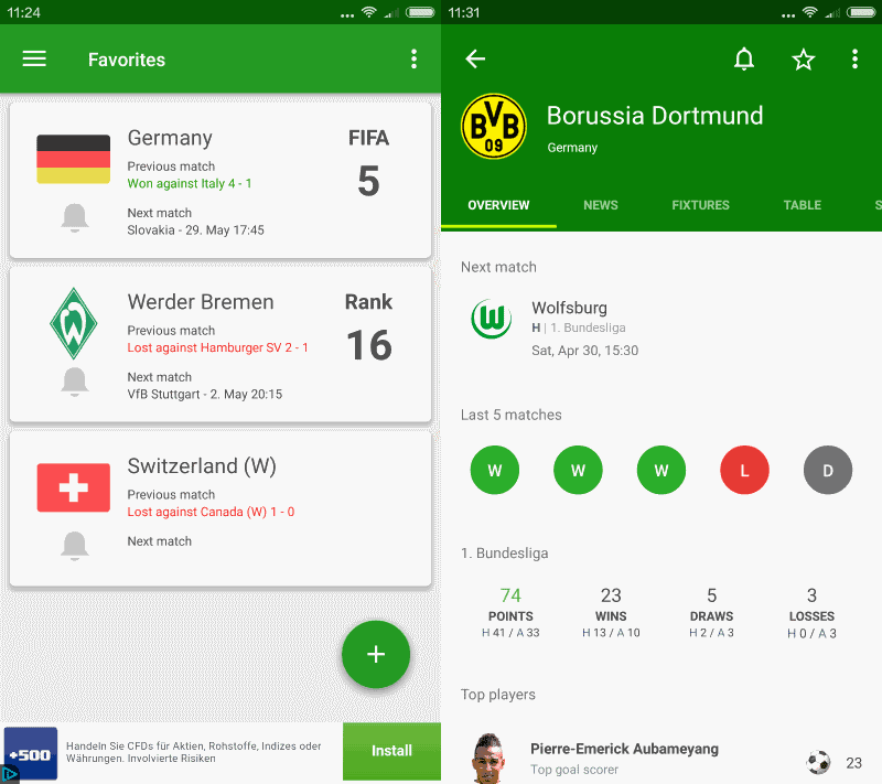 soccer scores football app