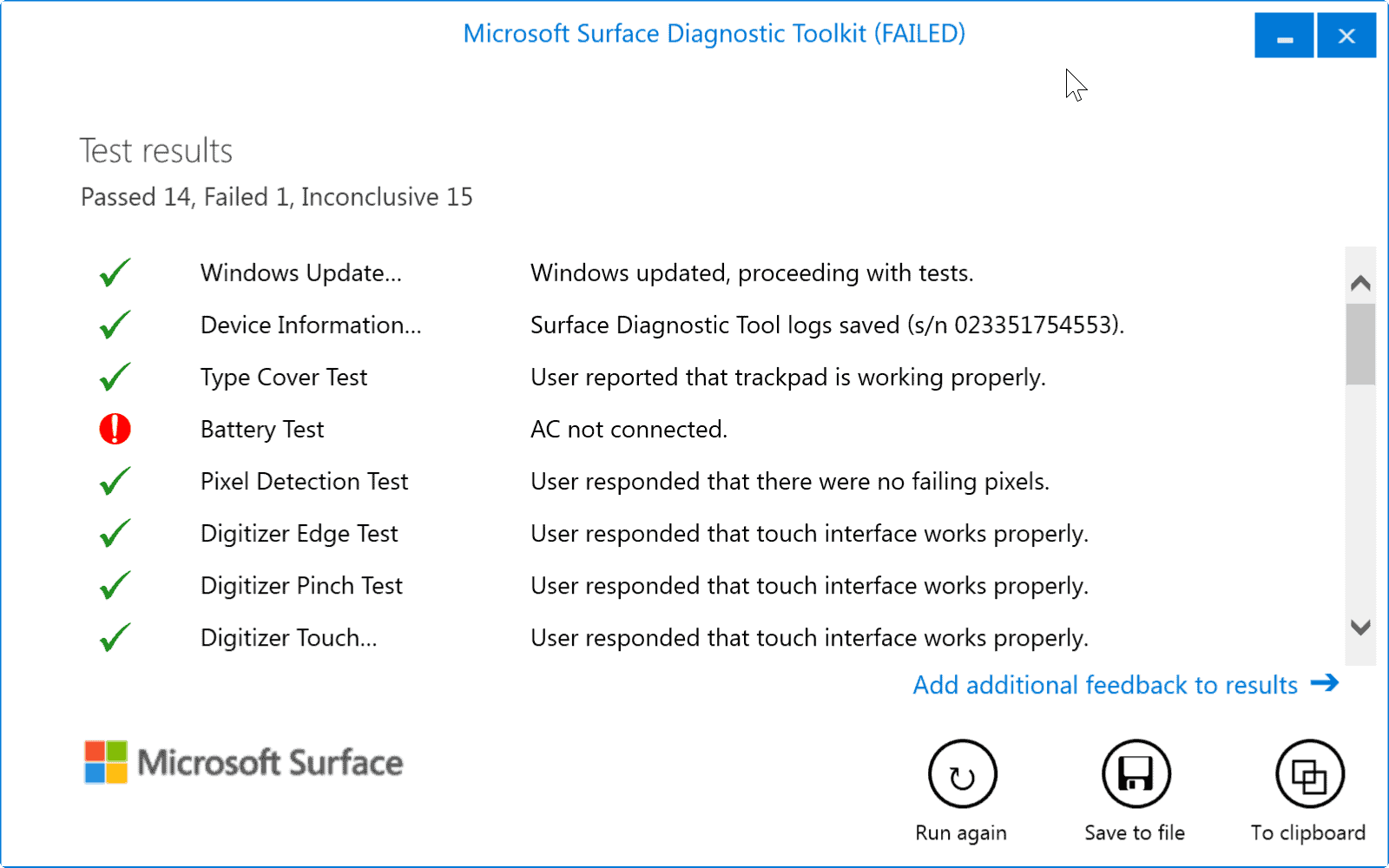 surface test