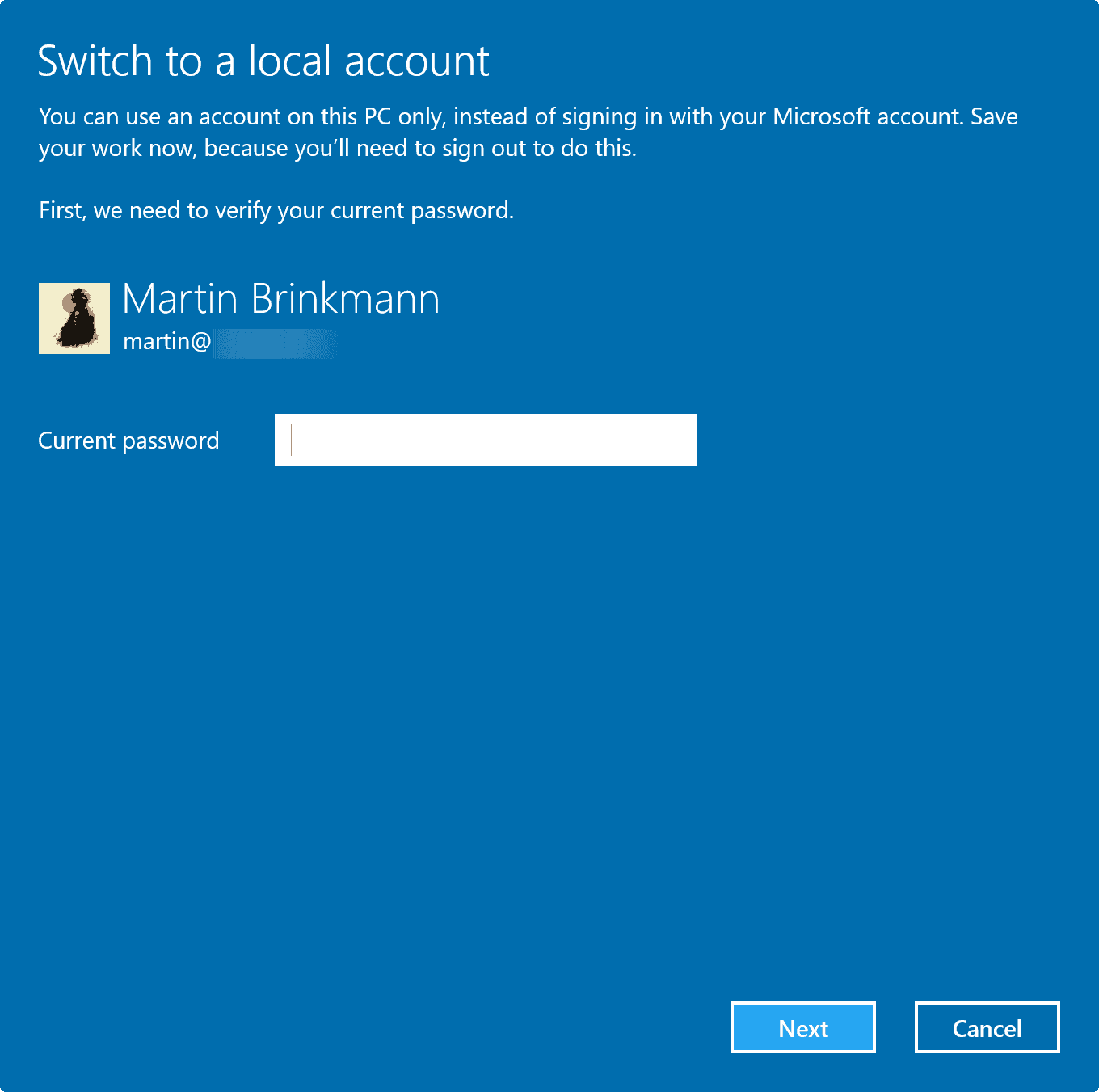 switch local account password