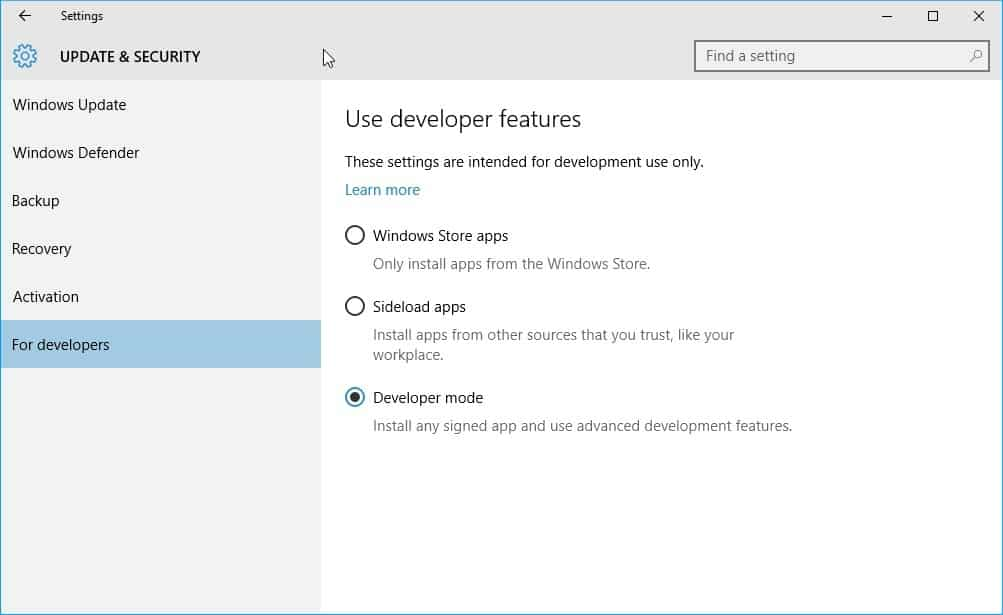 windows 10 developer mode