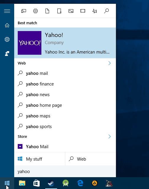 windows 10 web search