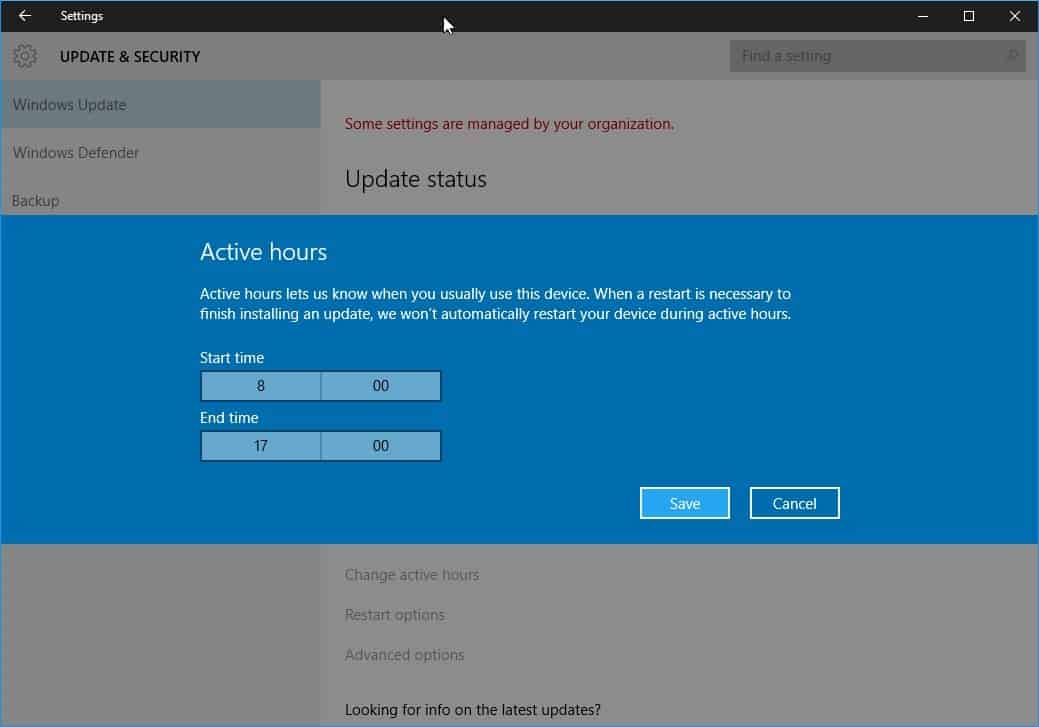 A closer look at Active Hours in Windows 10