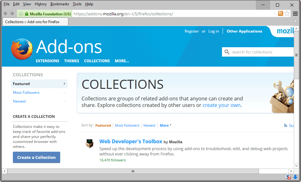 Are Firefox Add-on Collections dead?