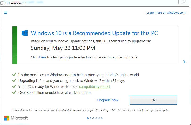 get windows 10 schedule
