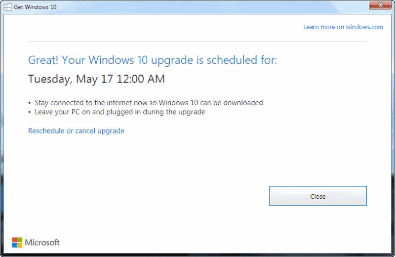 great windows 10 upgrade scheduled