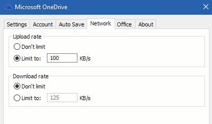 Limit OneDrive transfer rates on Windows 10