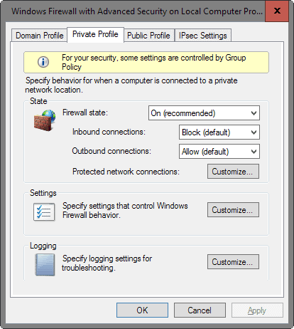 windows firewall configure