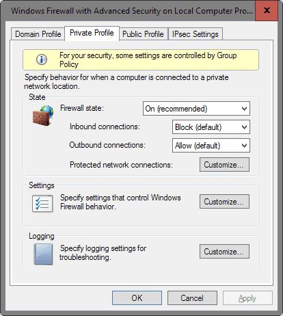 windows firewall configure