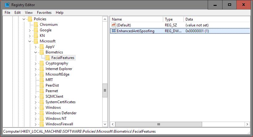 anti-spoofing registry
