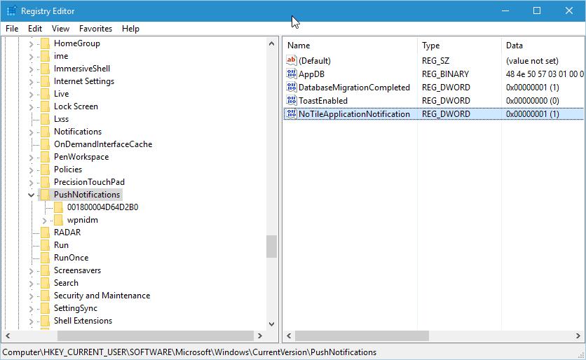 disable live tiles registry