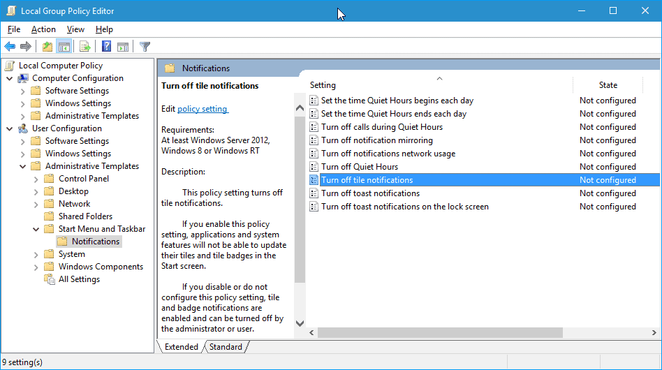 disable windows 10 live tiles