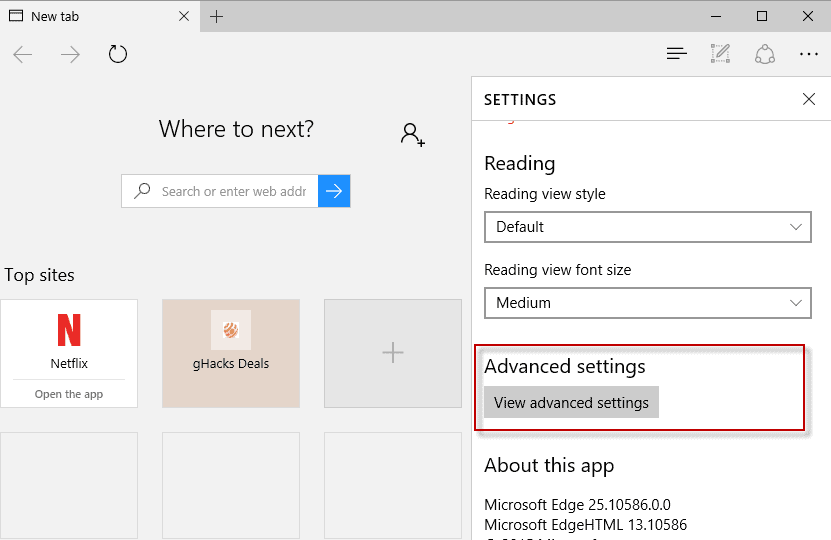 edge advance dsettings