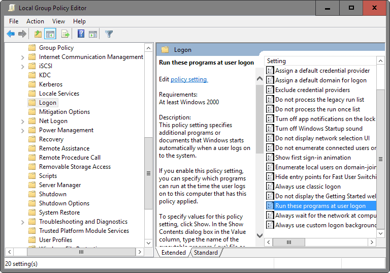 group policy startup