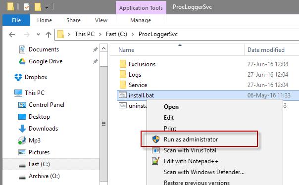 install process logger