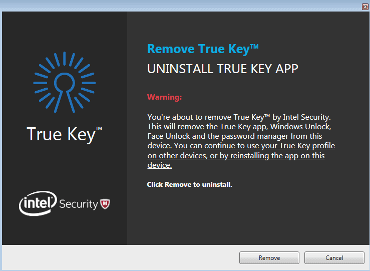 remove true key
