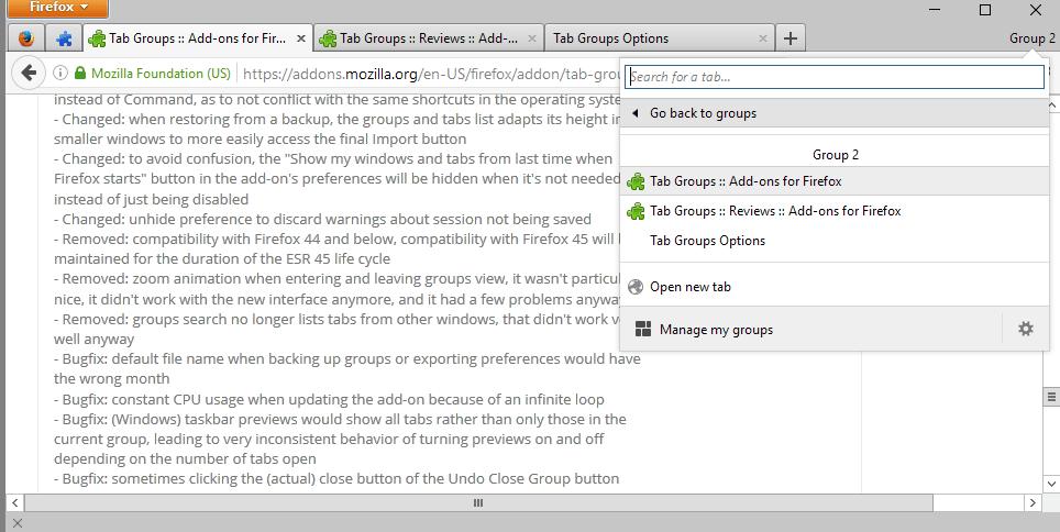tab groups version 2