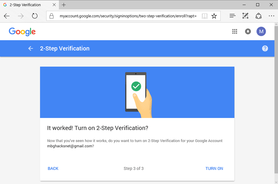 turn on -2-step verification