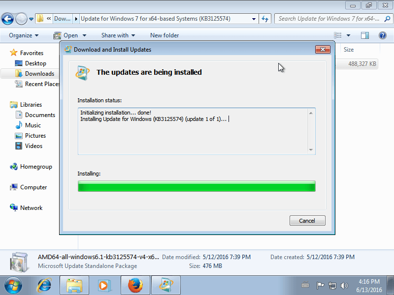 Speed up the Windows 7 update rollup