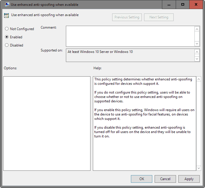 use enhanced-anti-spoofing when available