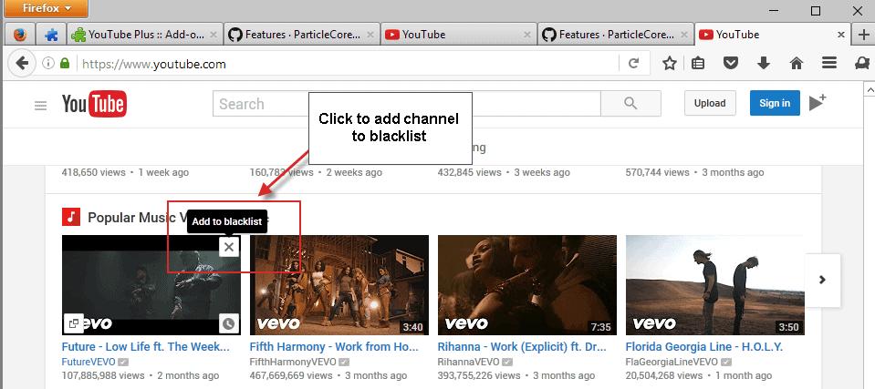 youtube blacklist